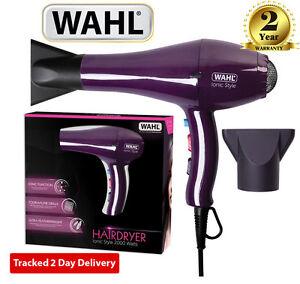 Purple WAHL Professional 2000W Ionic Style Hairdryer Lightweight Hair Blow Dryer