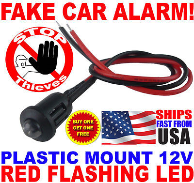12v RED Alternating Flashing Dummy Fake Car Alarm Dash Mount LED Light PM