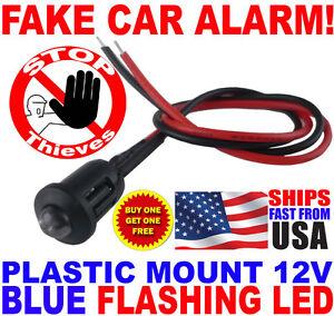 12v BLUE Flashing Dummy Fake Car Alarm Dash Mount LED Light FAST FREE SHIP! pm