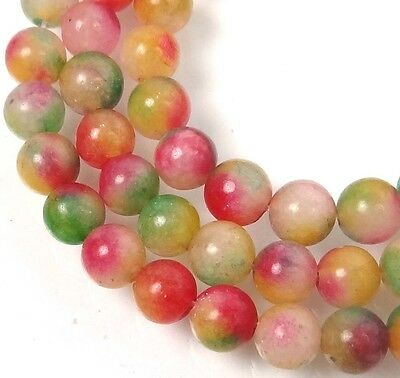 6mm Watermelon Candy Marble Jade Round Beads -