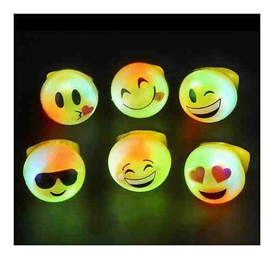 12 PCS Light-Up Emoji Jelly Rings Emoticon Flashing LED Emotions Favors Blinking