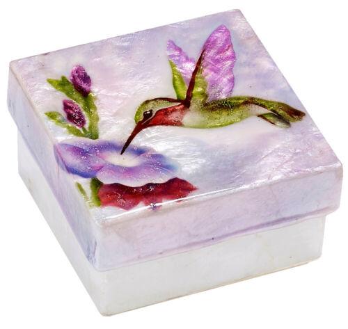 "Hummingbird Trinket Stash Box Capiz Window Pane Oyster Shell Pink 3"" X 3"""