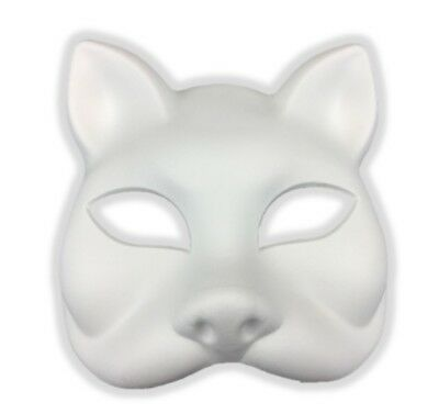 Paint Create Decorate Kitty Cat White Mask Mardi Gras Costume Decor Crafts DIY