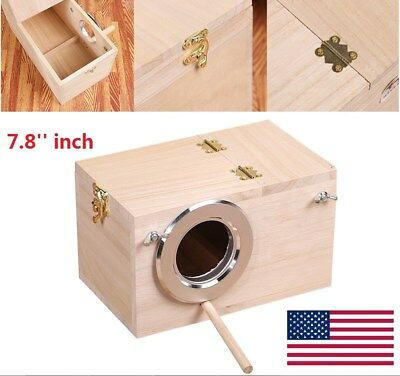 US Shellhard Wooden Nest Pet Parrot Budgies Parakeet Nesting Box Bird Supplies