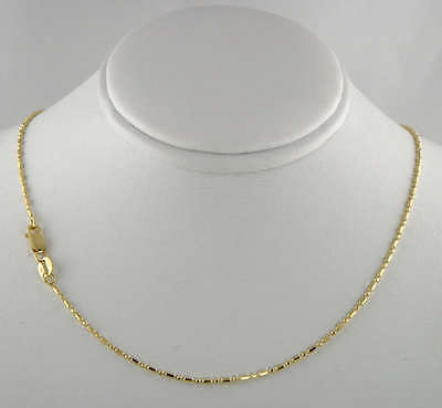 14k Yellow Gold Drop Necklace (14K Solid Real Yellow Gold Diamond Cut Bead Bar Chain Necklace 1.2mm 18