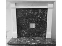White Classical Fire Surround with contrasting Black/Grey Marble Hearth and Back for sale £25