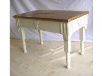 DINING / LIVING / SHABBY CHIC BESPOKE COFFEE TABLE OAK TOP COTTAGE CREAM TURNED LEGS ART DECO STYLE