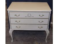 vintage chest of drawers,original white in superb condition