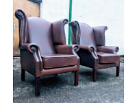 Pair of scroll brown leather chesterfield chairs VGC DELIVERY AVAILABLE