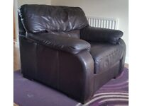 Large dark brown full leather armchairs (x2) Sofa Chair