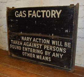 Gas Factory wooden warning sign decor mancave old wood enamel vintage antique retro industrial