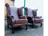 Pair of brown leather chesterfield chairs VGC DELIVERY AVAILABLE