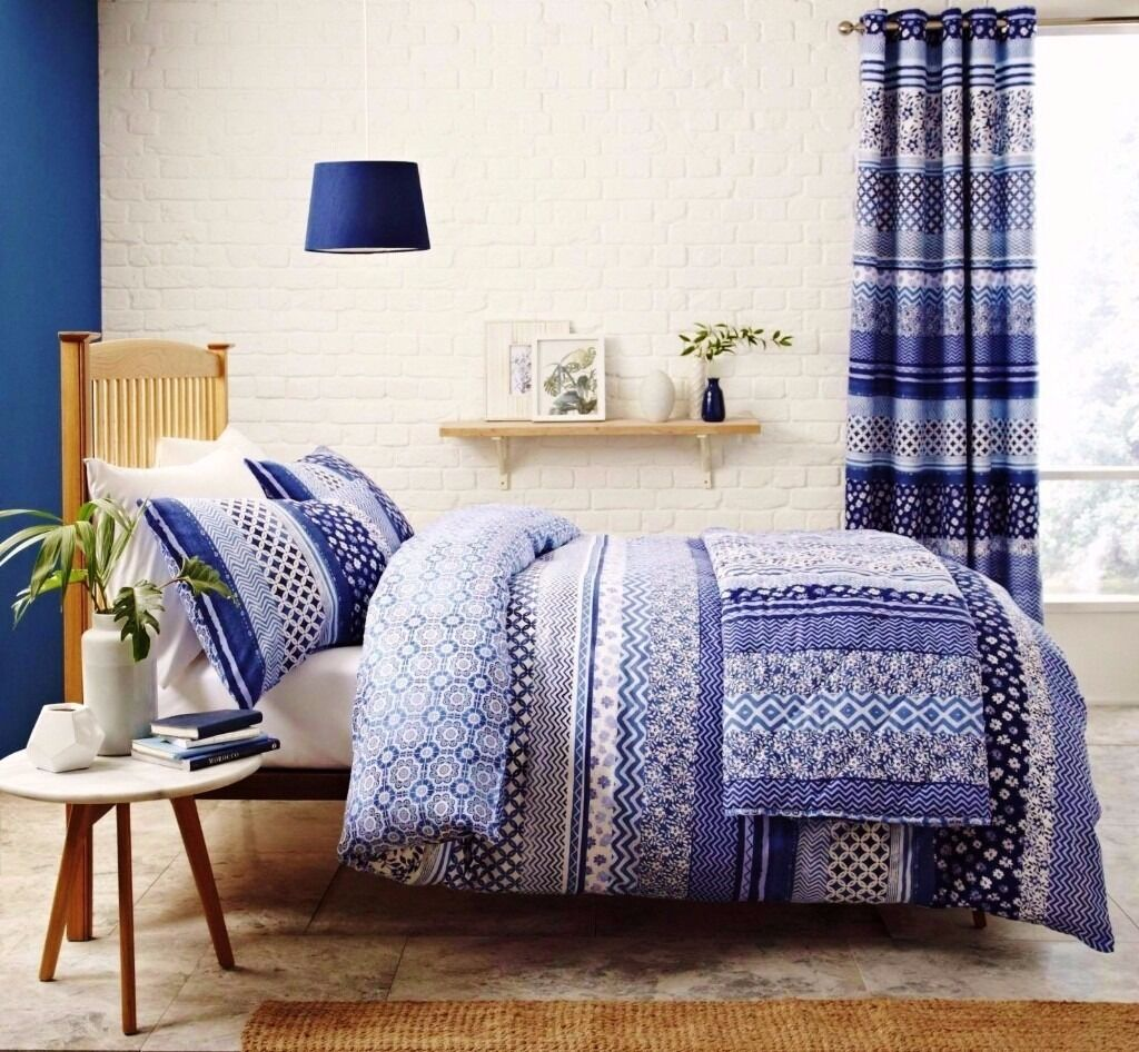 blue and white new modern bedspread and matching double duvet set  - blue and white new modern bedspread and matching double duvet set