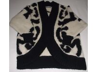 Heavyweight ladies knitted jacket/cardigan with big cat design on the back - freesize