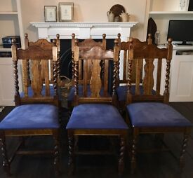 6 X Solid Oak Heavy Dining Chairs