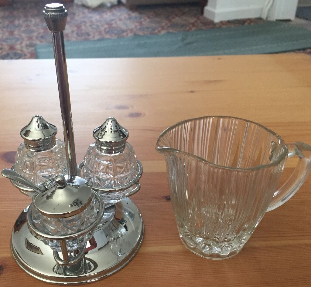 Vintage Sugar, Salt, Pepper Containers with Rotating Holder & Milk Jug