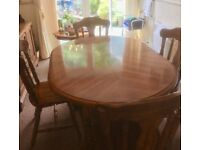 Solid Wood Extending Dining Table, 4 Chairs and Matching Display Unit