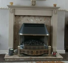 Gas fire with marble surround and wooden mantle peice