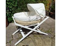 mamas and papas moses basket, and stand, white, plus extras