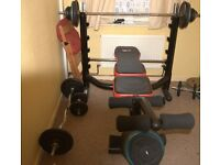 heavy duty weights bench + 100kg cast iron weights + barbell+curlbar+ dumbells £180