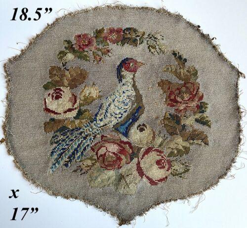 "Antique Victorian Beadwork, Needlepoint Screen Panel, 18.5"" x 17"" with Pheasant"
