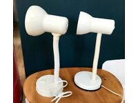 TWO DESK BEDSIDE LAMPLIGHTS, WORKING, CREAM, ADJUSTABLE STEMS, RETRO, HOME WORKING OFFICE
