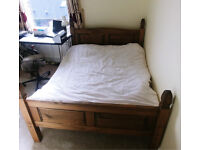Double bed (pine frame) with mattress, mint condition, bought as guest bed