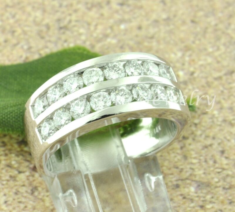 2.00 Ct 14k Solid White Gold Mens Natural Diamond Ring Channel Set 2 Rows