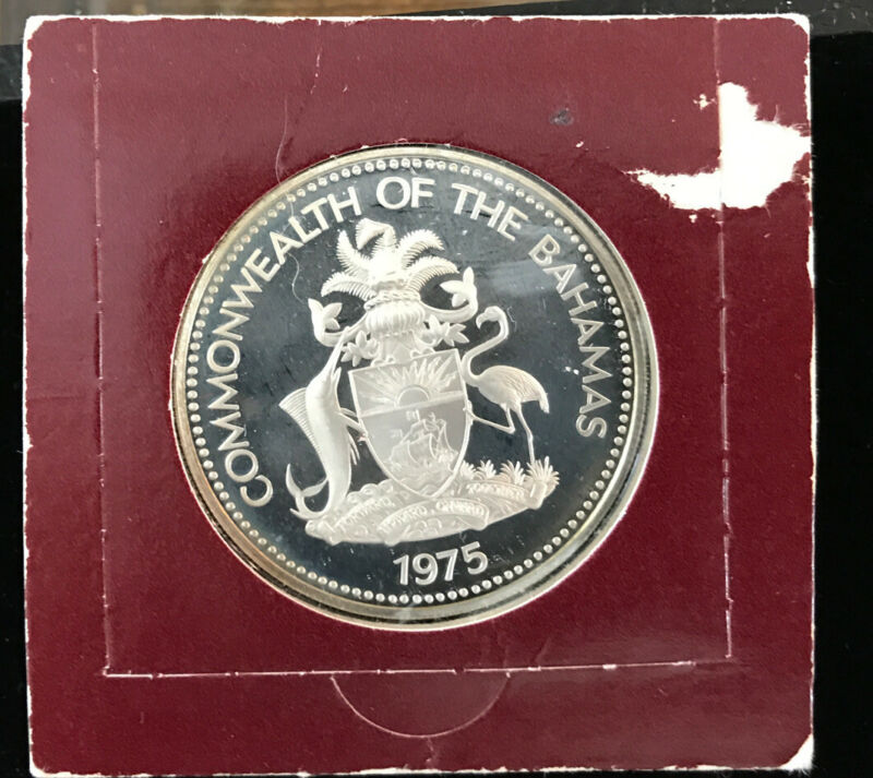 1975 Bahama Two Dollar Silver Coin Proof Uncirculated