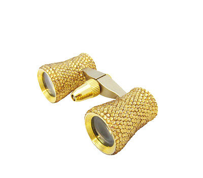 Ladies Gold Crystal Mini Binoculars Theater Opera Glasses W  Swarovski Crystals