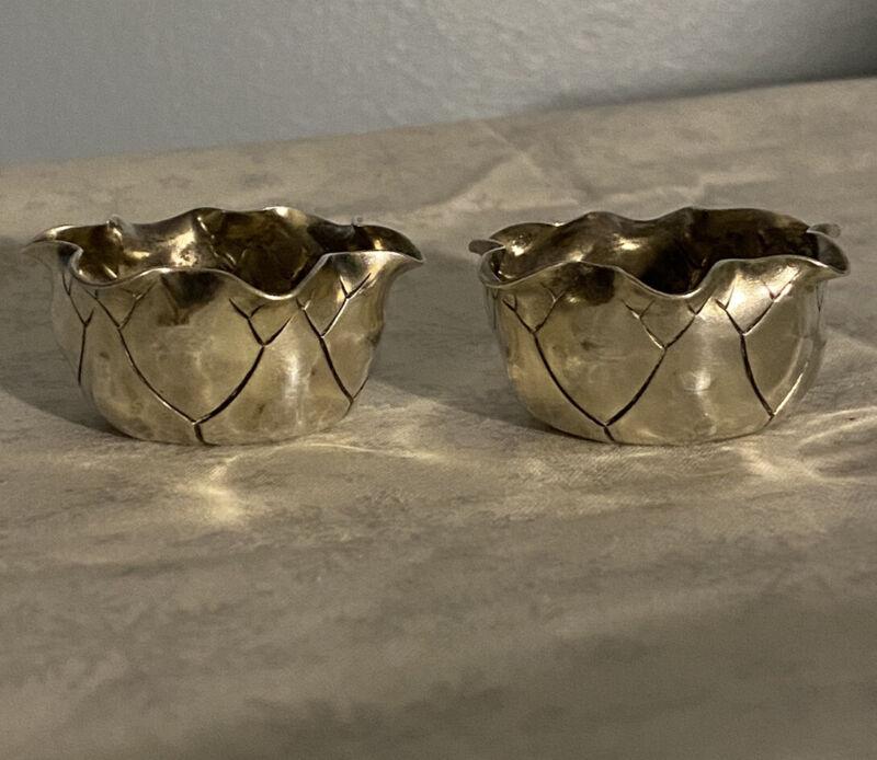George Shiebler Aesthetic Sterling Silver Pair of Leaf Form Open Salts