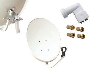 60cm parabole satellite acier galva pour astra hotbird lnb pour 4 tv 40mm ebay. Black Bedroom Furniture Sets. Home Design Ideas