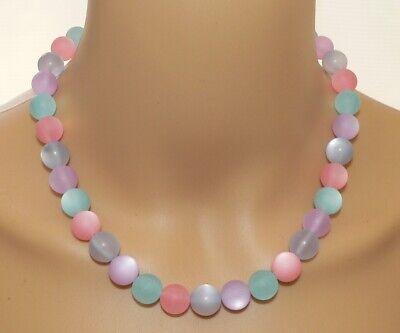 Halskette Kette 12mm Ø Polarisperlen Pastell rosa hellblau flieder aqua   025d ()