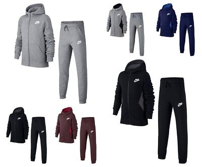 Nike Kids Fleece (Nike boys kids junior Fleece Full Tracksuit Jogging Bottoms Top Cotton Hoodie)