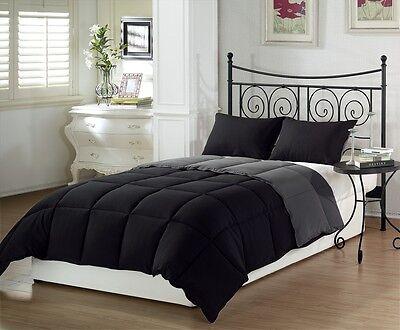 Black Grey Soft Goose Down Alternative Comforter Set , Twin , Queen , King Size