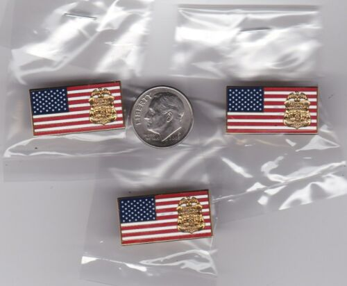 FBI Badge American Flag Lapel Hat Pin 3-Pack