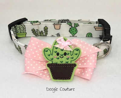 Brand New!  Cactus Dog Collar With Bow Size XS-L by Doogie C