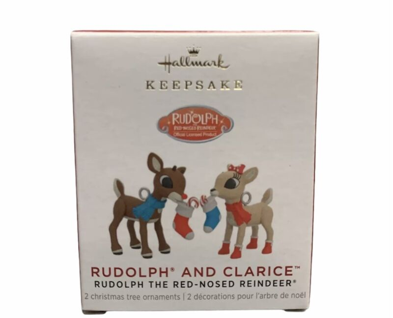 2021 Rudolph The Red Nosed Reindeer & Clarice CHRISTMAS ORNAMENT Miniature Mini