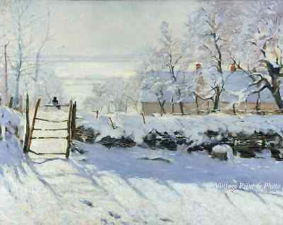 The Magpie by Claude Monet - Art Country Winter Snow Fence Bird 8x10 Print 0275