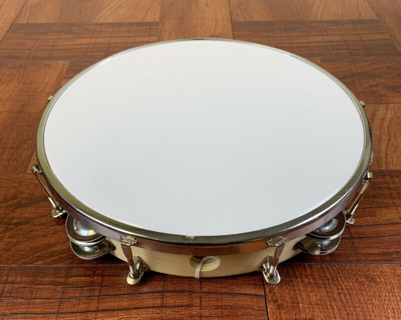 "Tambourine/Pandereta-10"" Synthetic Head With Double Row Of Jingles, TUNABLE."