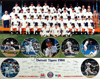 1984 WORLD SERIES WORLD CHAMPIONS DETROIT TIGERS TEAM 8x10  PHOTO  Detroit Tigers World Series