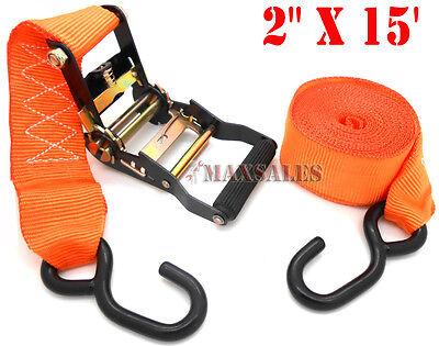 """2"""" x 15"""" Ratchet Tie Down/Hook 2,500 Ibs 2"""" wide nylon webbing strap"""