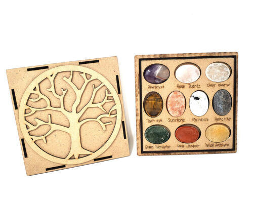 Tree of Life Worry Gemstone Oval Stones 10 Pc Set w/Box, New Item