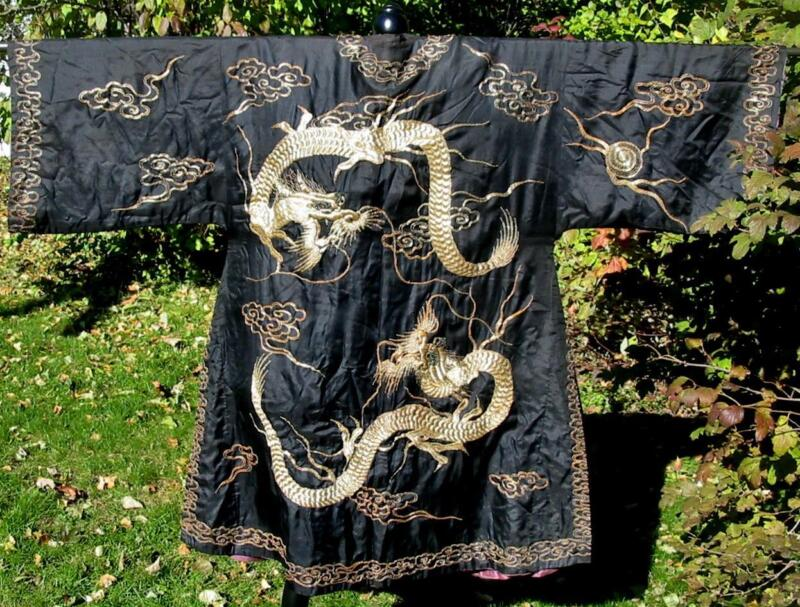 Antique Gumps San Francisco Chinese Embroidered Black Silk Dragon Robe Fabulous!