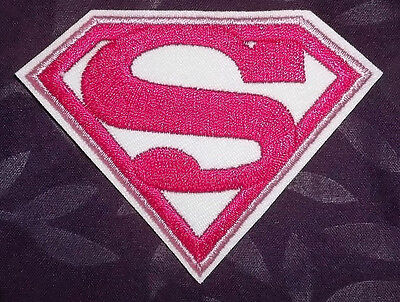 SUPERMAN SUPERGIRL PATCH PINK SEW IRON ON DIY EMBROIDERED SUPER HERO COMIC BOOKS (Supergirl Pink)