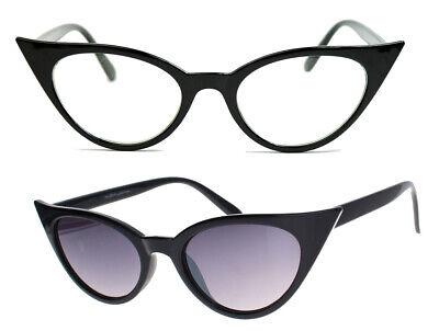 Cat Eye Retro Sonnenbrille Damen Modebrille Klarglas Vintage Rockabilly 73