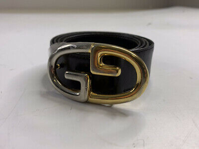 Authentic Vintage Gucci Black Leather Belt size 38 Gold Silver GG Logo Buckle