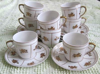 Eight Vista Alegre Gold Floral Demitasse Cups And Saucers Made In Portugal