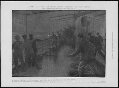 1904 Antique Print - PORT ARTHUR Naval Weather Fog Fighting Night Battle (184)