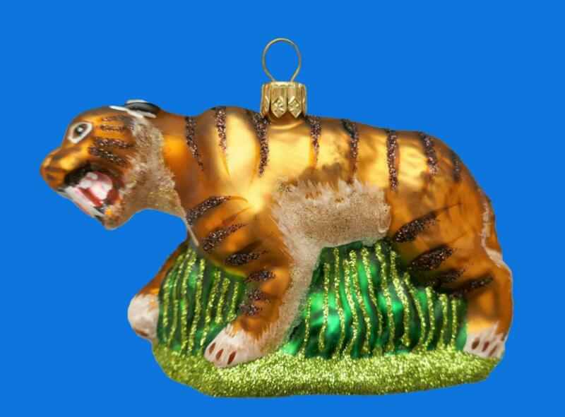 SABER-TOOTHED SABRE-TOOTHED TIGER EUROPEAN BLOWN GLASS CHRISTMAS TREE ORNAMENT